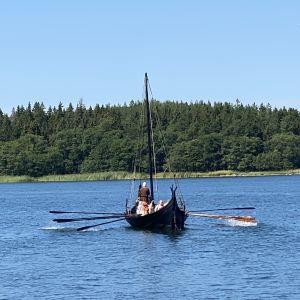 Vikingaskeppet Sotka ros fram i skärgården. Fyra årpar sticker fram från sidorna på den svarta båten.
