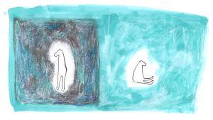 abstrakt bild av två kroppar