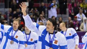 Teemu Selänne var kapten för hockeylejonen i Sotji.