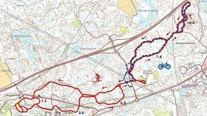 karta över skidspår där man får cykla i Lovisa