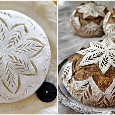 Hangöbagaren Mia Nyberg dekorerar sina surdegsbröd med ornament på toppen.