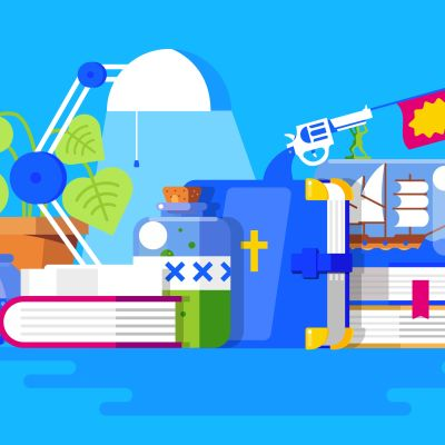 Illustration av böcker
