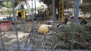En palestinsk granat slog ner på gården i daghem i Israel, men dagiset var lyckligtvis stängt då det träffades