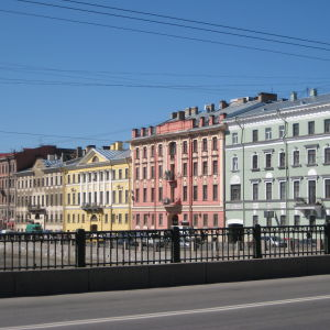 Hus vid Fontankaflodens strand i Sankt Petersburg.