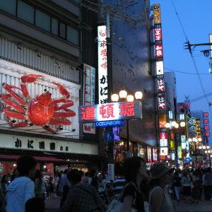 Osaka iltavalaistuksessa, valomainoksia kadulla.