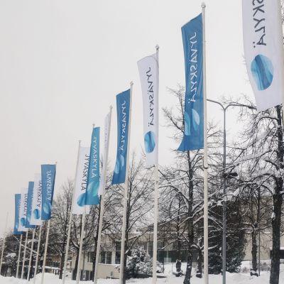 Jyväskyllä-liput liehuvat Jyväskylän kaupungintalon edustalla.