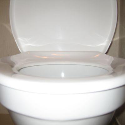 En toalettsits i vitt porslin.