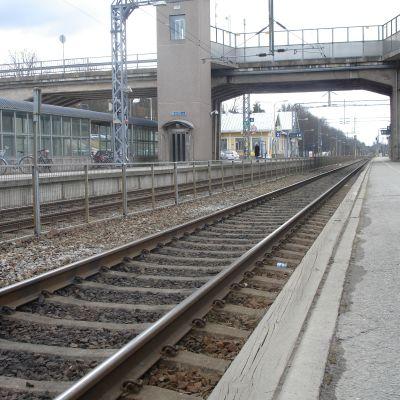 Tomma spår på järnvägsstationen i Karis.