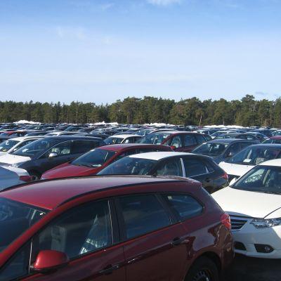 bilar så lång ögat kan nå i Hangö frihamn