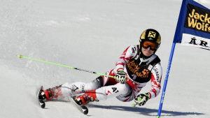 Kathrin Zettel åker slalom.