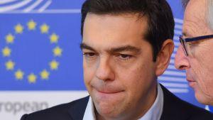 Greklands premiärminister Alexis Tsipras och EU-kommissionens ordförande Jean-Claude Juncker i Bryssel den 13 mars 2015.