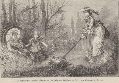 En gammal teckning föreställande en kvinna som klipper gräs.