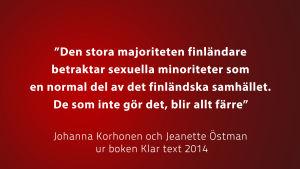 Citat ur boken Klar text av bl.a. Johanna Korhonen, vit text på röd botten