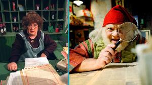 Kuva on jaettu kahtia. Vasemmalla Ritva Valkama Olga P. Postisena, oikealla Tonttu Toljanteri, jota esittää Kunto Ojansivu.