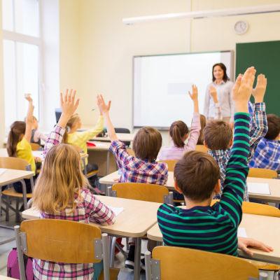 Kuvassa on oppilaita luokassa viittaamassa.