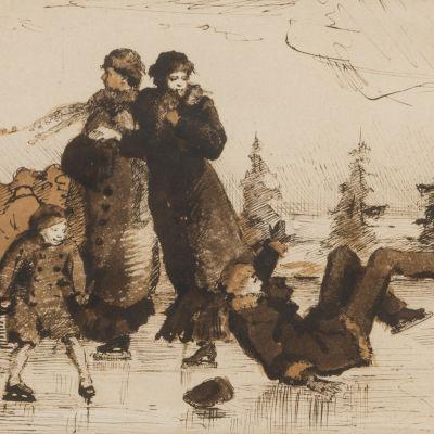 Skiss av Helene Schjerfbeck föreställande två damer och en flicka och pojke som skrinnar. Pojken har fallit omkull. Signerad och daterad år 1879.