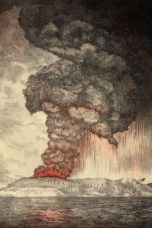 Litografi av Krakatoas utbrott 1883.