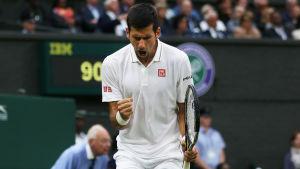 Novak Djokovic knyter näven och firar.