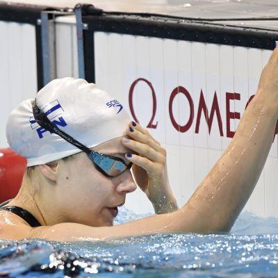 Ida Hulkko efter målgången i semifinalen.