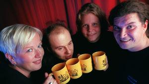 Radiomafian Herätysjuhlan tekijöitä 1997: Satu Kurvinen, Harri Strömberg, Paula Noronen ja Tero Liete