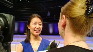 Christel Lee at an interview with Lotta Emanuelsson