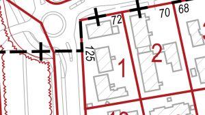 Kiinteistökartta, jossa näkyvät tontin rajat ja rakennukset.