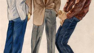 Detalj av Tom of Finland-akvarell från 1947.