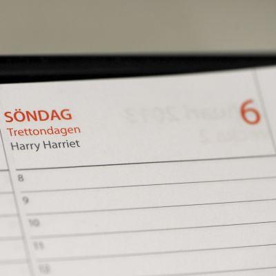 Kalender visar trettondagen den 6 januari.