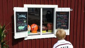 Ett ljushårigt barn tittar in i Sportotekets vita fönster där det finns en skylt där det står vad man kan låna.