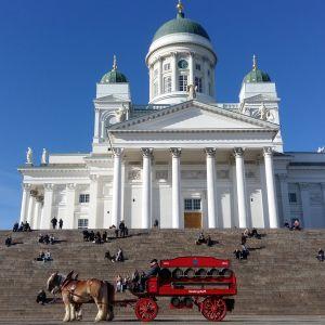 Domkyrkan i Helsingfors med Sinebrychoffs hästekipage i förgrunden.