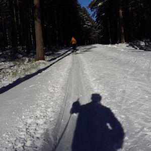 Skidåkare vid Impivaara skidspår i vintersol.