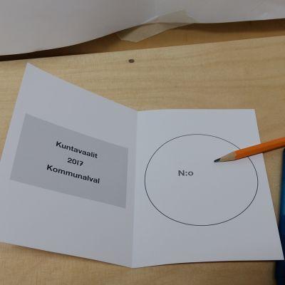 Valsedel vid kommunalvalet 2017.