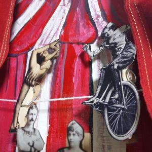 Klippdockor som föreställer cirkusartister, tillverkade av vintagefoton