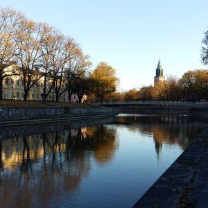 Domkyrkan, träd i höstskrud och hus längs Västra Strandgatan speglas i Aura å.