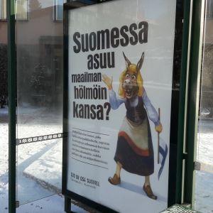 Reklamkampanj för ökad torvproduktion i Finland, februari 2017, Helsingfors.