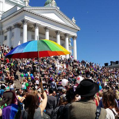 Helsingfors pride år 2014 samlade ett stort antal personer på Senatstorget.