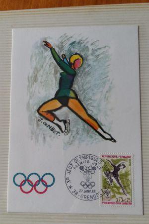 Brev från vinter-OS 1968 i Grenoble med ett OS-frimärke med en konståkare.