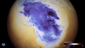 Den amerikanska vädertjänsten NOAA:s karta visar köldområdet över Nordamerika.