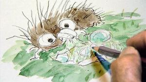 Hayao Miyazakin piirros. Kuva dokumenttielokuvasta Mestari Miyazakin paluu.