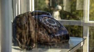 Hylätty puhelinkoppi ja hylätty puhelin, josta omaiset soittelevat Fukushimassa kadonneille. Kuva tv-dokumentista.