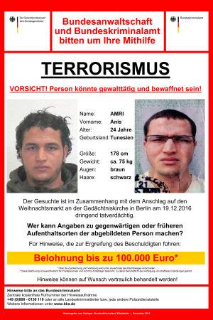 efterlysning från tyska polisen på terrormisstänkte anis amri