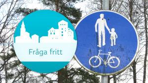 Trafikmärke för kombinerad cykel- och gångbana.