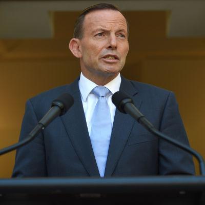 Australiens premiärminister Tony Abbott kommenterar gisslandramat i Syney 15.1.2014.