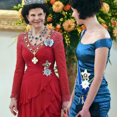 Drottning Silvia och presidentfrun Jenni Haukio.