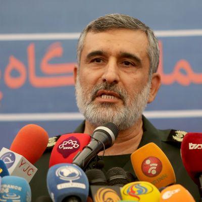 Befälhavaren för det iranska revolutionsgardets flygvapen, Amir Ali Hajizadeh, på en arkivbild från den 21 september 2019.