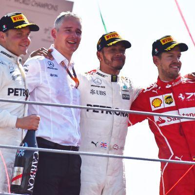 Valtteri Bottas, Lewis Hamilton och Sebastian Vettel på podiet.