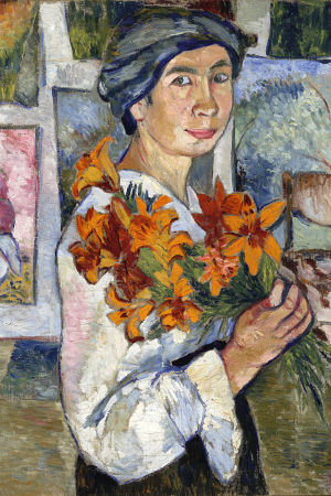 Natalia Goncharova: Självporträtt med gula liljor (1907–1908).  Tretjakovgalleriet.