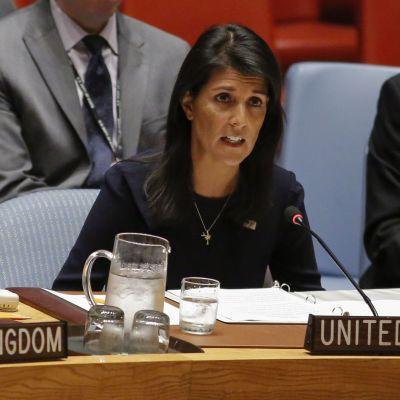 USA:s FN-ambassadör Nikki Haley vid säkerhetsrådets krismöte i New York den 4 september 2017.