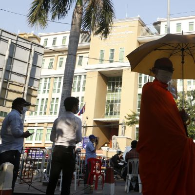Phnom Penhin oikeustalo kuvattuna viime helmikuussa.