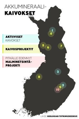 Suomen kartta johon merkitty jo olemassa olevat aivokset ja suunnittelilla olevat kaivokset
